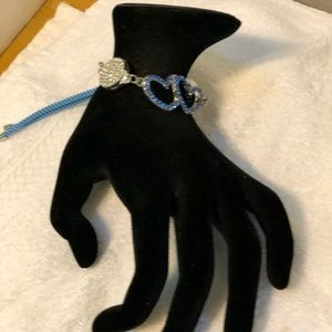 Blue double heart with rhinestone bracelet